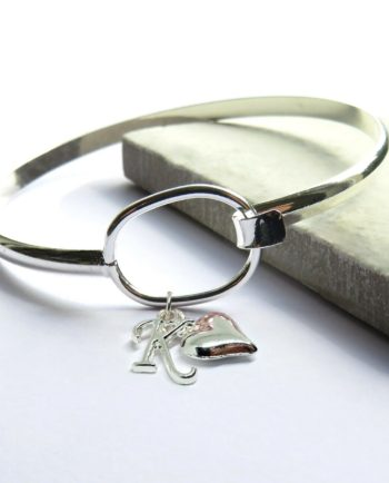 Initial Loop Bangle with Heart Charm