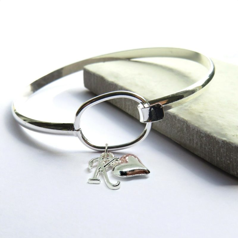 Personalised Initial Loop Bangle with Heart Charm