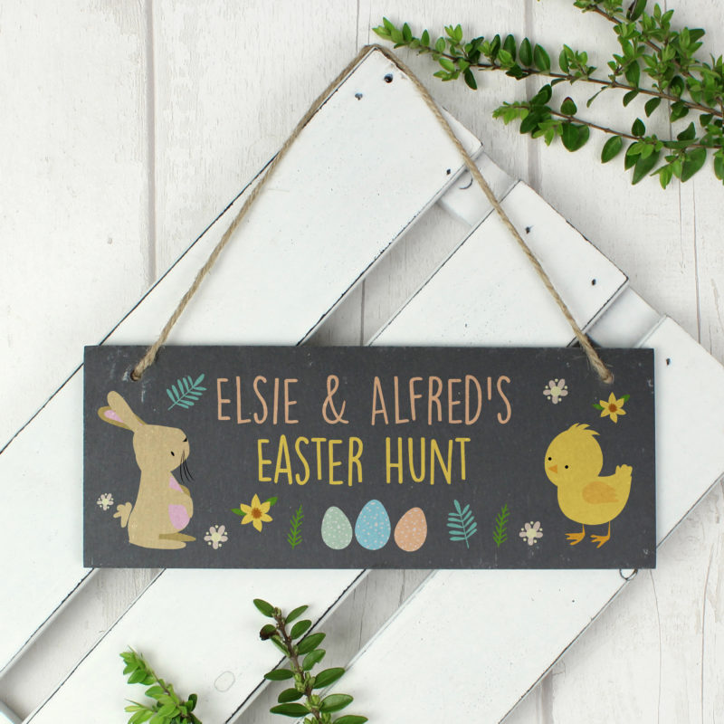 Personalised Easter Bunny & Chick Slate Door Sign