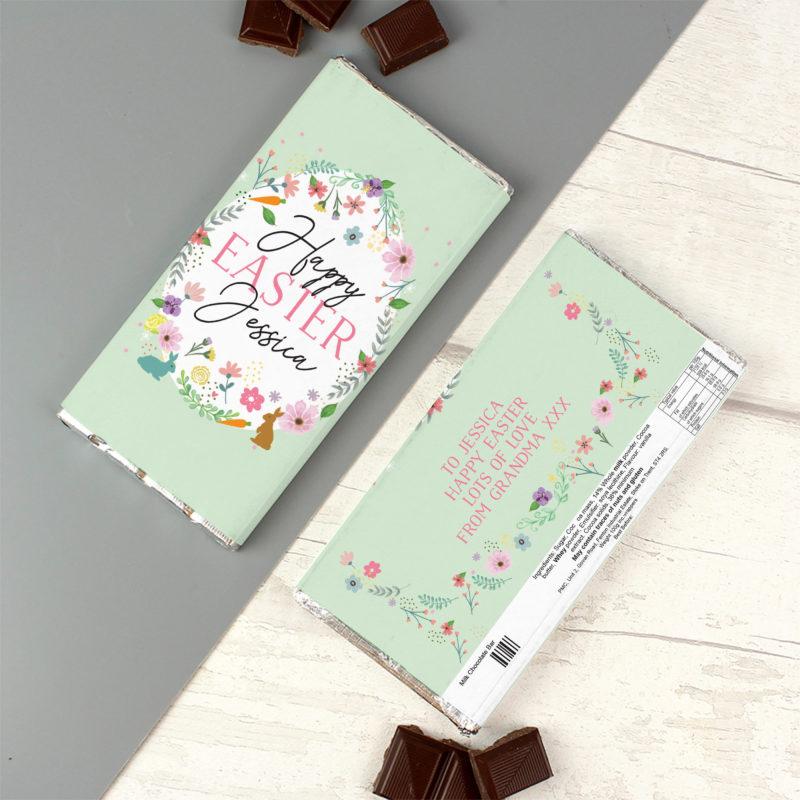 Personalised 'Happy Easter' Springtime Milk Chocolate Bar