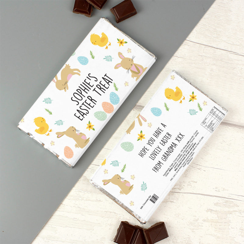 Personalised 'Easter Bunny & Chick' Milk Chocolate Bar