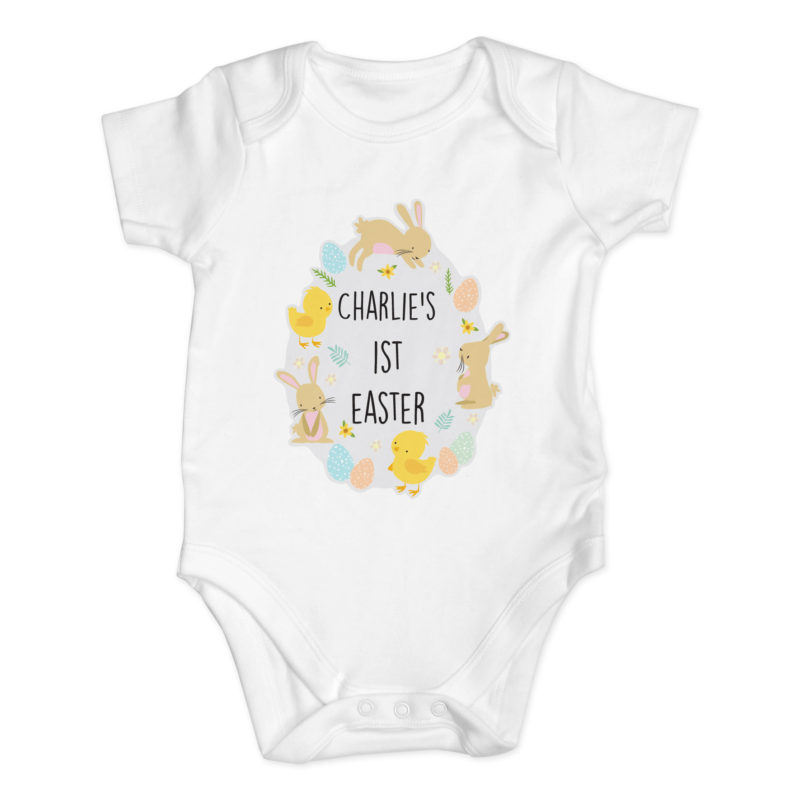 Personalised 'Easter Bunny & Chick' Baby Vest
