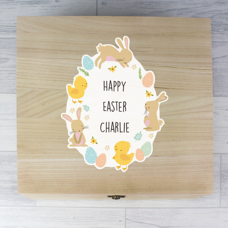Personalised 'Easter Bunny & Chick' Large Wooden Keepsake Box