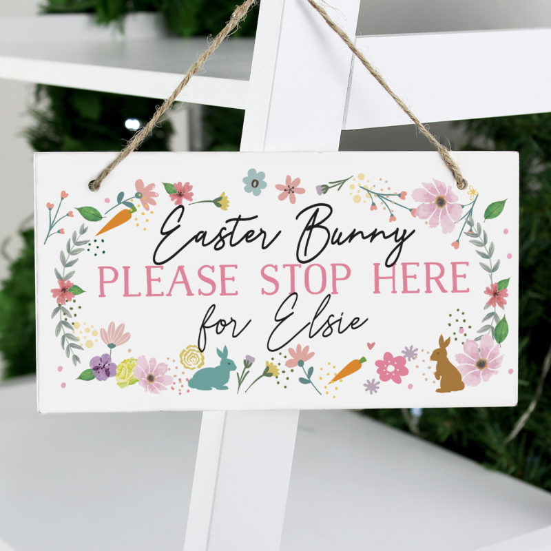 Personalised 'Easter Bunny' Wooden Sign