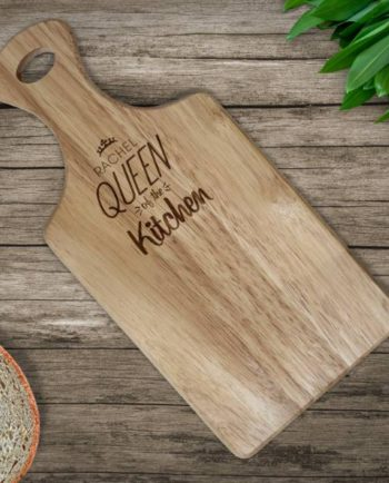 Personalised Queen of the Kitchen Paddle Chopping Board