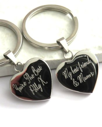 Personalised Script Engraved Heart Keyring
