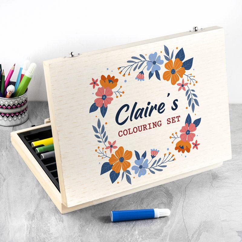 Personalised Children's Flower Garland Colouring Set