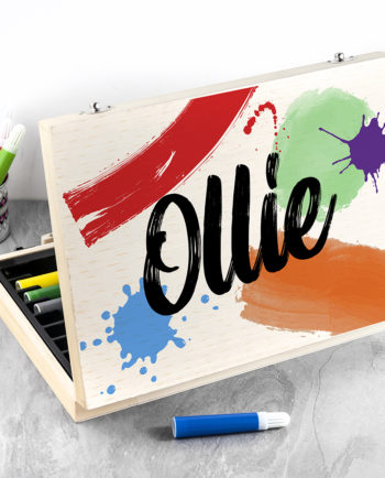 Personalised Colour Splash Children's Drawing Set in Wooden Case