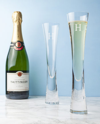 Personalised Set of Two LSA Champagne Flutes