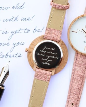 Personalised Own Handwriting Engraving Sweet Pink Anaii Watch