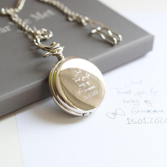 Personalised Own Handwriting Dual Opening Pocket Watch