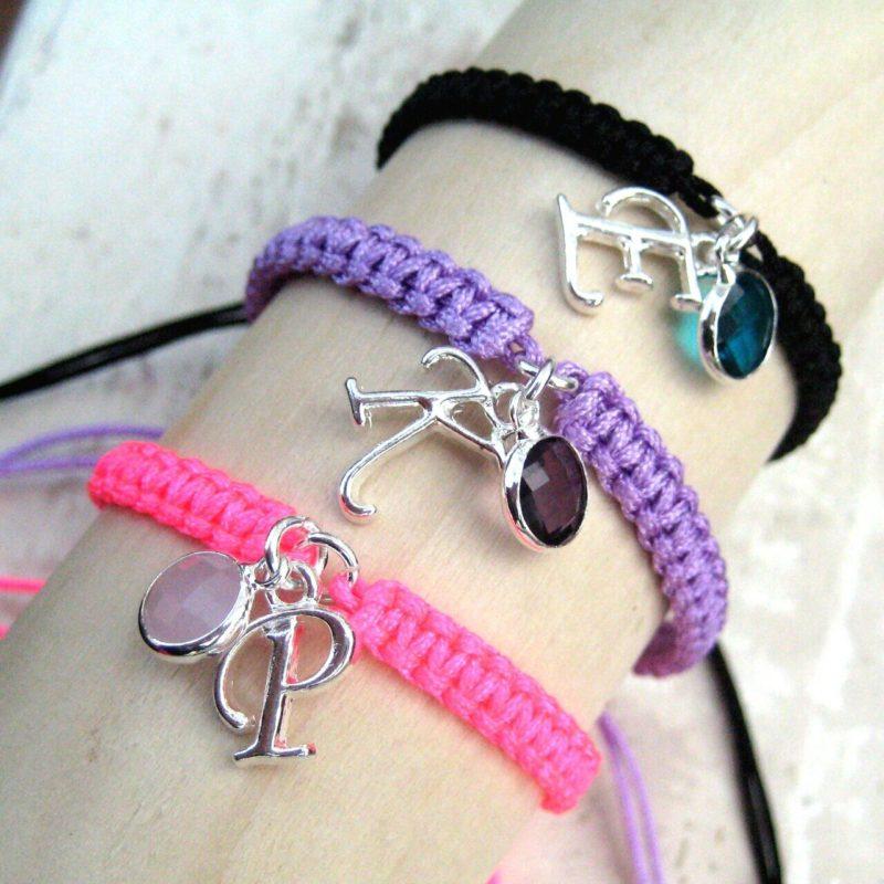 Personalised Girls Friendship Initial & Birthstone Bracelet