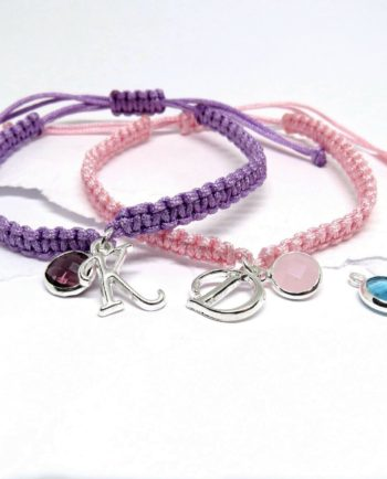 Personalised Girls Friendship Initial & Birthstone Bracelet Gift