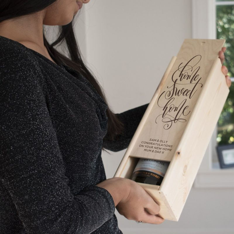Personalised Home Sweet Home Wooden Wine Box