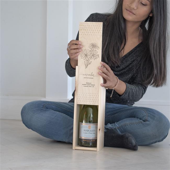 Personalised Birthflower Wooden Wine Box