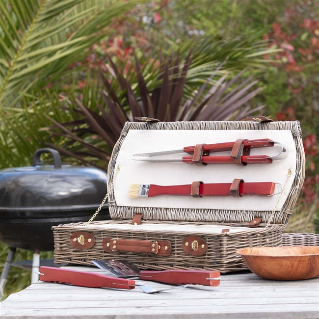 Personalised Luxury 5 Piece Willow BBQ Tool Set