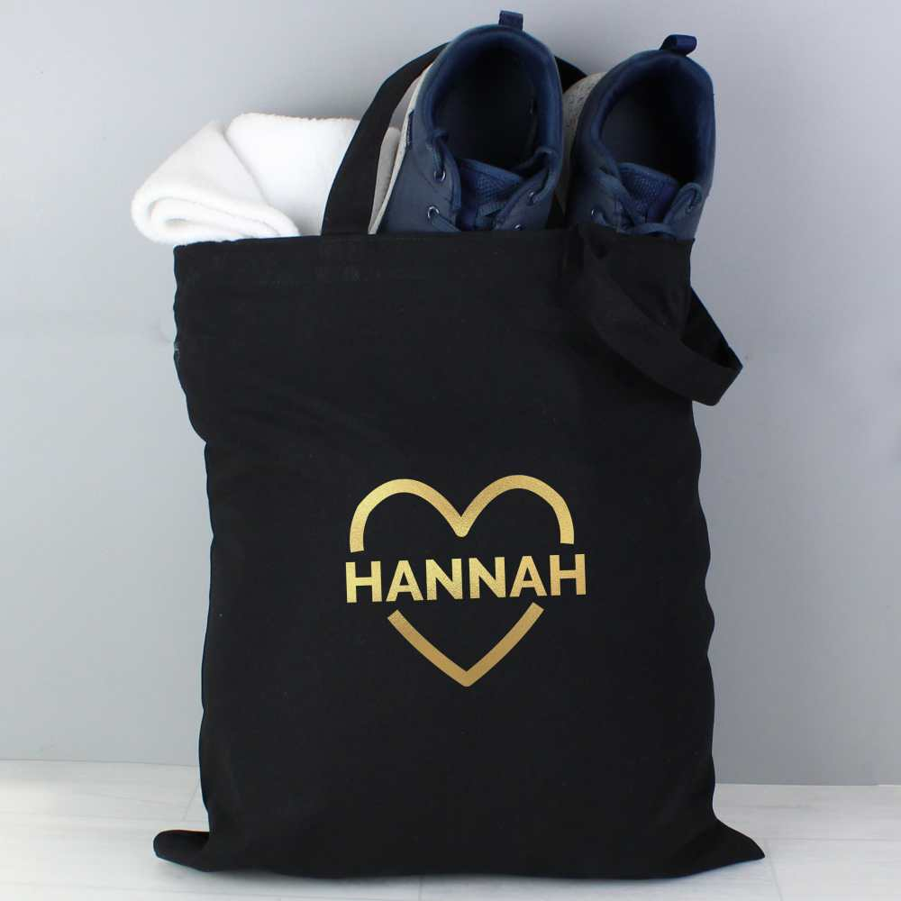 ladies personalised black and gold tote bag