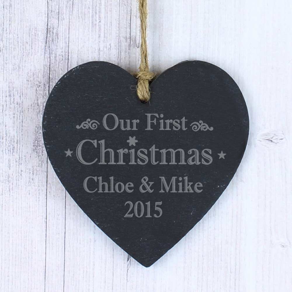 love heart hanging christmas ornament for wife or girlfriend