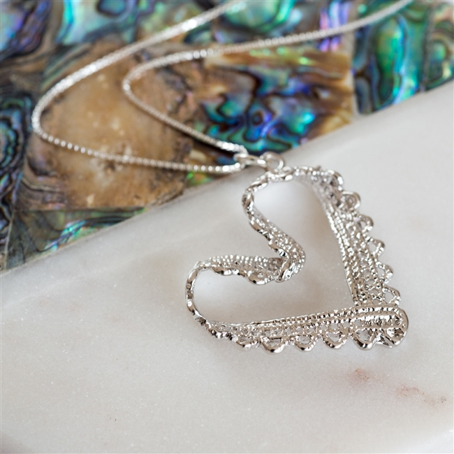 silver lace love heart necklace