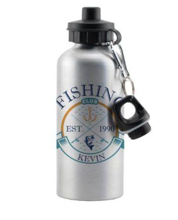 Personalised Fishing Club Silver Drinks Bottle