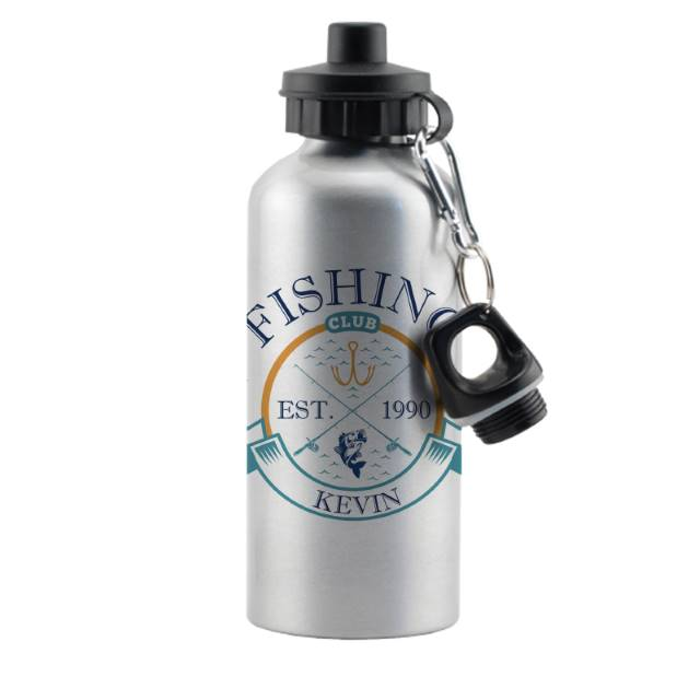 Personalised 'Fishing Club' Silver Drinks Bottle