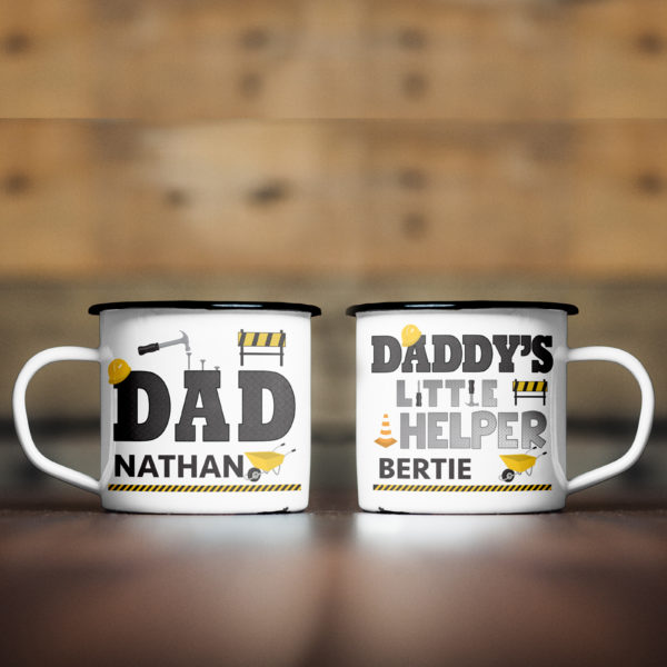 Personalised Little Helper Duo Enamel Mugs