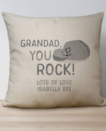Personalised You Rock Linen Look Cushion