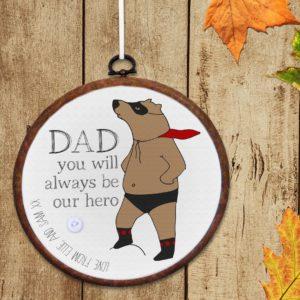 Personalised 'Superbear' Embroidery Hoop Print