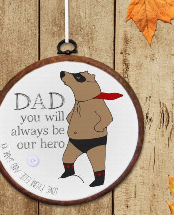 Personalised 'Superbear' Embroidery Hoop Print