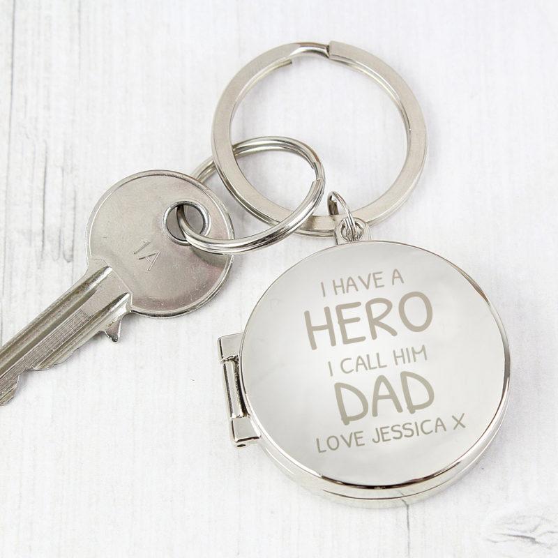 Personalised 'I Have A Hero' Round Photo Keyring