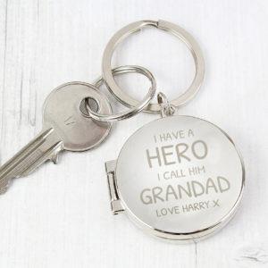 Personalised I Have A Hero Round Photo Keyring