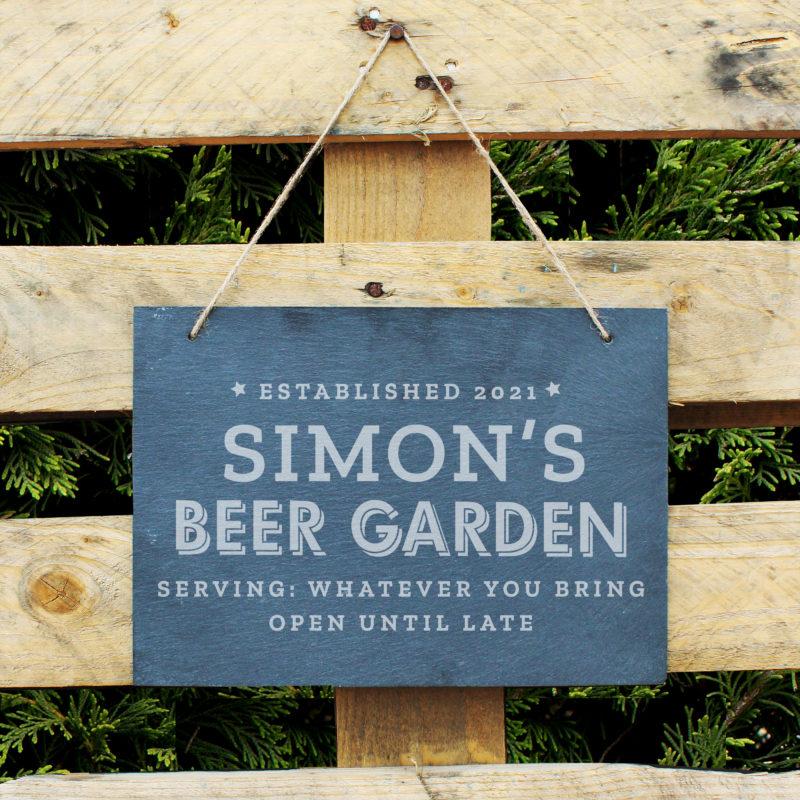 Personalised 'Beer Garden' Large Hanging Slate Sign