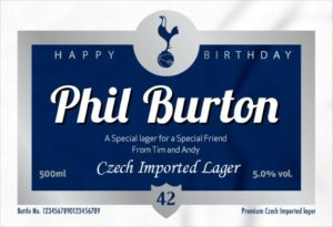 Personalised Spurs Lager with Birthday Label