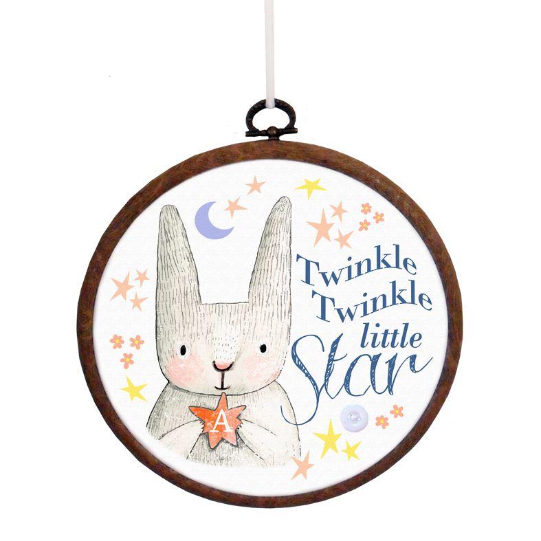 Personalised 'Twinkle Twinkle Little Star' Embroidery Hoop Print