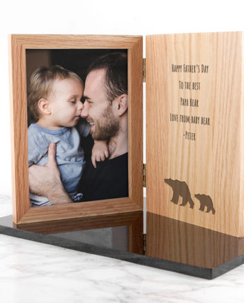 Personalised Father's Day Papa Bear Book Oak Wooden Photo Frame