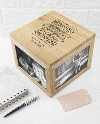 Personalised A Truly Amazing Dad Oak Photo Cube Keepsake Box