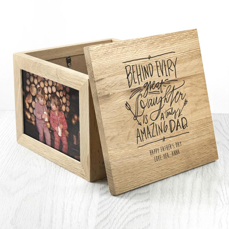 Personalised 'A Truly Amazing Dad' Oak Photo Cube Keepsake Box