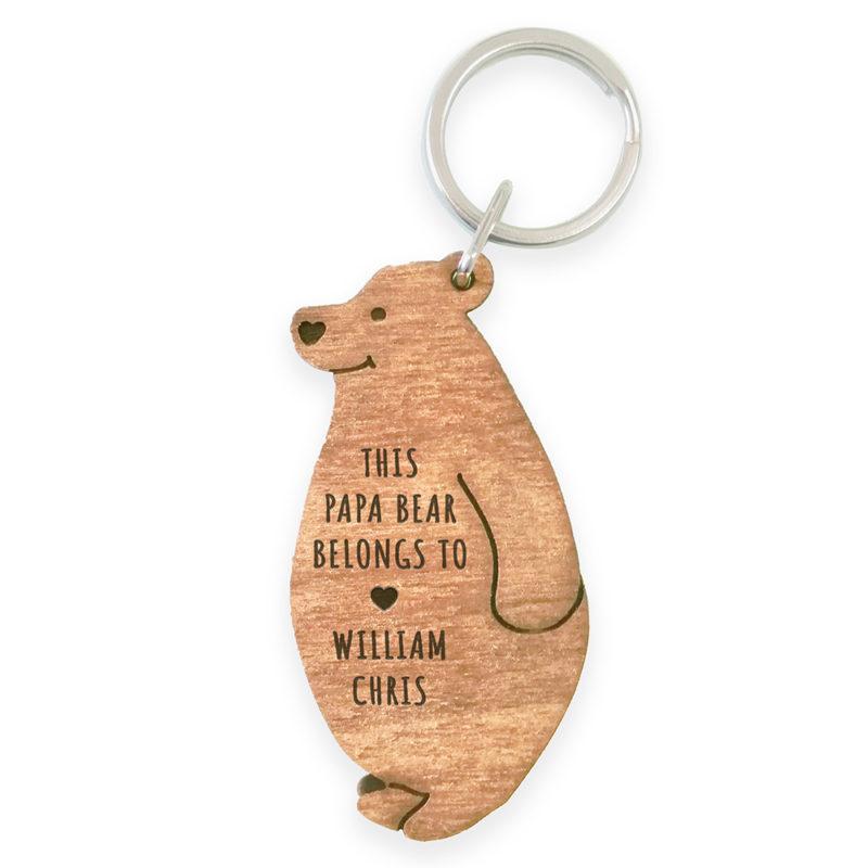 Personalised 'This Papa Bear Belongs To' Wooden Keyring