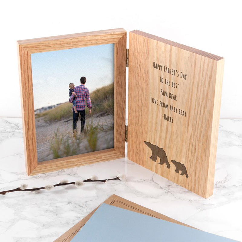 Personalised Father's Day 'Papa Bear' Book Oak Photo Frame