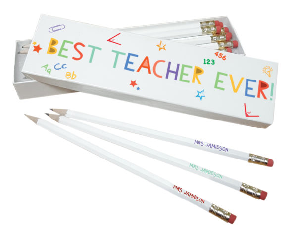 Personalised 'Best Teacher Ever' White Pencils in Box