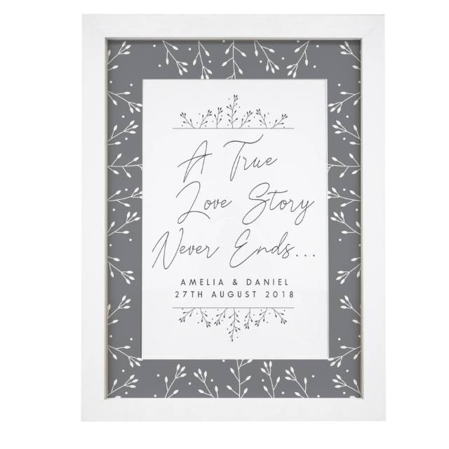 Personalised 'A True Love Story' Framed Print