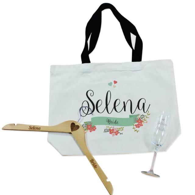 Personalised Floral Bridal Party Bag, Flute And Hanger Set