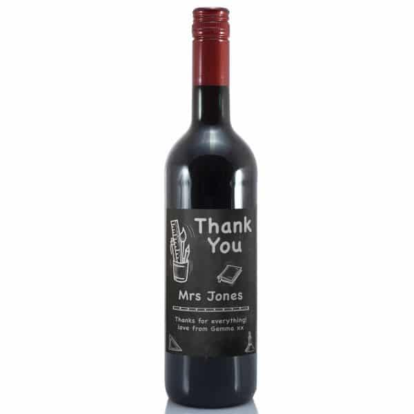 Personalised Thank You 'Chalkboard Themed' Red Wine