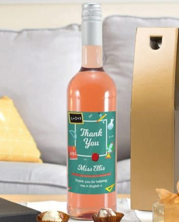 Personalised Thank You Classroom Themed Rosé Wine