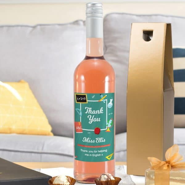 Personalised Thank You 'Classroom Themed' Rosé Wine