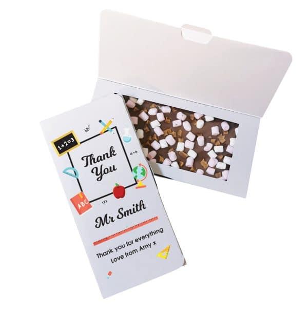 Personalised Thank You Teacher Milk Chocolate Card