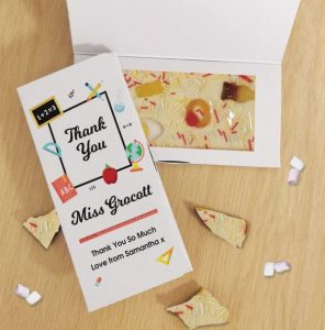 Personalised Thank You Teacher White Chocolate Card