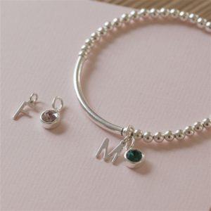 Personalised Sterling Silver Initial Birthstone Bracelet