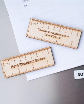 Personalised Wooden Ruler Teacher Magnets