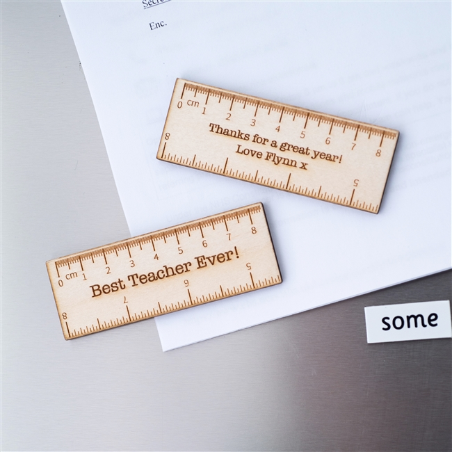 Personalised Pack of 2 Wooden Ruler Teacher Magnets